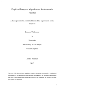 empirical essays on migration and remittances in uea  abstract