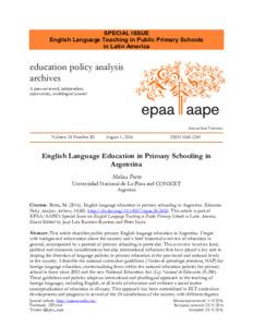 Enseñanza del inglés en la escuela primaria pública en