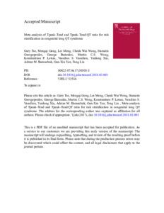 Meta-analysis of T peak –T end and T peak –T end /QT ratio