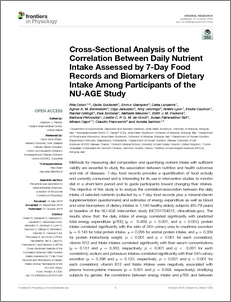 cross sectional analysis of the correlation between daily nutrient